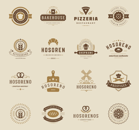 baked goods: Bakery Shop Logos, Badges and Labels Design Elements set. Bread, cake, cafe vintage style objects retro vector illustration. Illustration