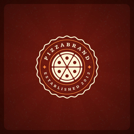 pizzeria label: Pizzeria Restaurant Shop Design Element in Vintage Style for Logotype, Label, Badge, T-shirts and other design. Pizza retro vector illustration.