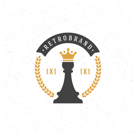 crown logo: Chess Design Element in Vintage Style for Logotype, Label, Badge and other design. Pawn Retro vector illustration.