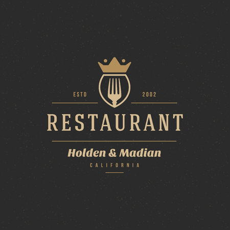italian food: Restaurant Shop Design Element in Vintage Style for Logotype, Label, Badge and other design. Fork retro vector illustration.