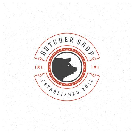 Butcher Shop Design Element in Vintage Style for Logotype, Label, Badge and other design. Pork face and knife retro vector illustration.