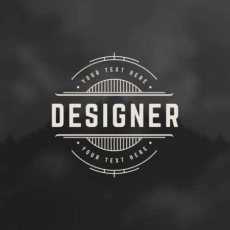 designer labels: Designer Design Element in Vintage Style for Logotype, Label, Badge and other design. Line art Retro vector illustration.