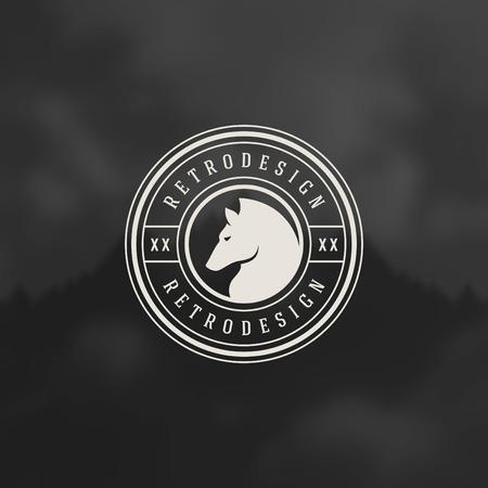 insignia: Retro insignias de época o de logo Vector elemento de diseño, rótulo de establecimiento cabeza de caballo plantilla. Vectores