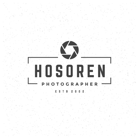 manufacturing occupation: Photographer Design Element in Vintage Style for Logotype, Label, Badge and other design. Photo camera Retro vector illustration.
