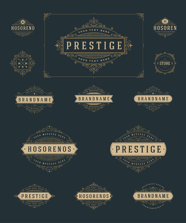 Set Luxury Logos template flourishes calligraphic elegant ornament lines. Business sign, identity for Restaurant, Royalty, Boutique, Hotel, Heraldic, Jewelry, Fashion and other vector illustration