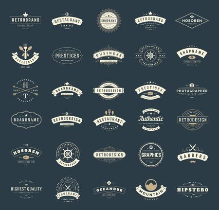 レトロなヴィンテージ ロゴタイプや徽章を設定します。ベクター デザイン要素、ビジネス印、ロゴ、アイデンティティ、ラベル、バッジ、リボン、