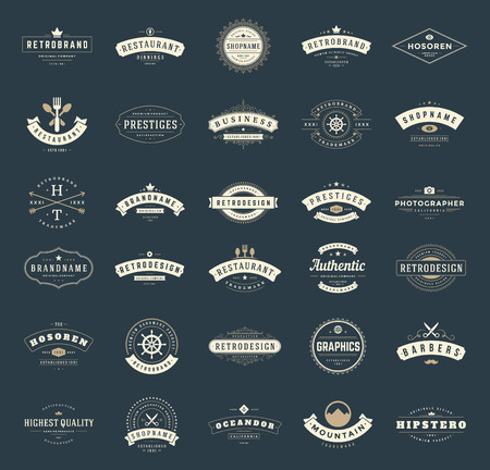 brand: Retro Vintage Logotypes or insignias set. Vector design elements, business signs, logos, identity, labels, badges, ribbons, stickers and other branding objects.