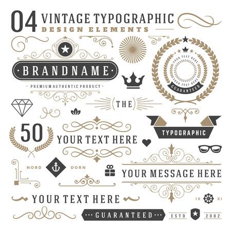 conception: Rétro éléments de conception typographiques. Arrows, étiquettes, rubans symboles de logos, de couronnes, de la calligraphie tourbillonne ornements et autres.