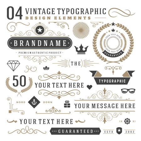 design symbols: Retro vintage typographic design elements. Arrows, labels ribbons, logos symbols, crowns, calligraphy swirls ornaments and other.
