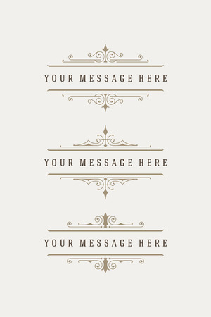 Vintage vector swirls ornaments decorations design elements and place for text. Flourishes calligraphic combinations retro design for Invitations, Posters, Badges, Logotypes and other design.