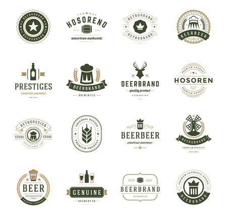 insignias: Establecer cerveza Logos, escudos y etiquetas de estilo vintage. Los elementos de diseño retro ilustración vectorial.