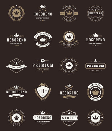 retro badge: Retro Vintage Premium Quality Labels and Crowns set. Vector design elements, signs, logos, identity, labels, badges, stickers and stamps. Satisfaction Guaranteed.