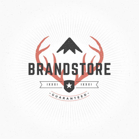 Hand drawn Deer horns Logo Vintage Style for Logotype, Label, Badge and other design. Vector illustration.