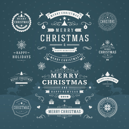 christmas tree set: Christmas Decorations Vector Design Elements. Typographic elements, Symbols, Icons, Vintage Labels, Badges, Ornaments and Ribbon, set. Flourishes calligraphic. Merry Christmas Happy Holidays wishes.