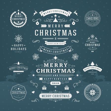 natale: Decorazioni di Natale di vettore Elementi di design. Elementi tipografici, simboli, icone, etichette d'epoca, Distintivi, ornamenti e nastro, insieme. Fiorisce calligrafico. Buon Natale Happy Holidays auguri. Vettoriali