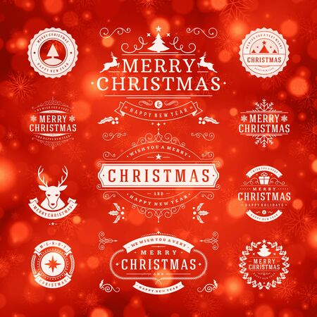 christmas wishes: Christmas Decorations Vector Design Elements. Typographic elements, Symbols, Icons, Vintage Labels, Badges, Ornaments and Ribbon, set. Flourishes calligraphic. Merry Christmas Happy Holidays wishes.