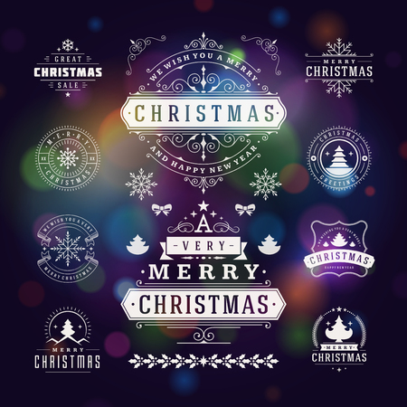 postcard vintage: Christmas Decorations Vector Design Elements. Typographic elements, Symbols, Icons, Vintage Labels, Badges, Ornaments and Ribbon, set. Flourishes calligraphic. Merry Christmas Happy Holidays wishes.
