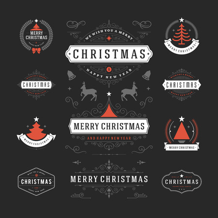 happy holidays: Christmas Decorations Vector Design Elements. Typographic elements, Symbols, Icons, Vintage Labels, Badges, Frames, Ornaments and Ribbons, set. Flourishes calligraphic. Merry Christmas and Happy Holidays wishes. Illustration