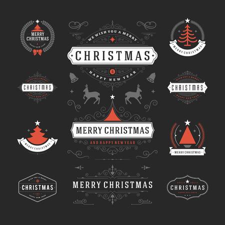 vacanza: Decorazioni di Natale di vettore Elementi di design. Elementi tipografici, simboli, icone, etichette d'epoca, distintivi, cornici, ornamenti e nastri, impostare. Fiorisce calligrafico. Buon Natale e Buone Feste desideri. Vettoriali