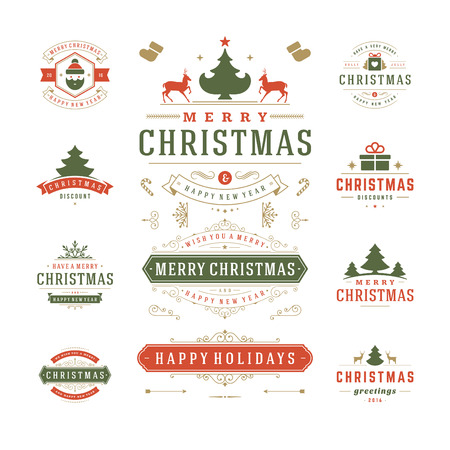 christmas party: Christmas Labels and Badges Vector Design. Decorations elements, Symbols, Icons, Frames, Ornaments and Ribbons, set. Typographic Merry Christmas and Happy Holidays wishes.