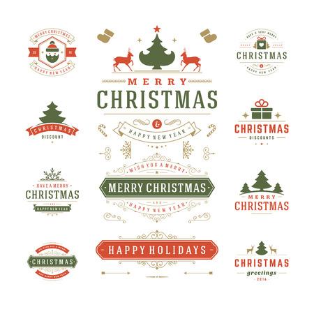 Weihnachten Etiketten und Abzeichen Vektor-Design. Schmuck Elemente, Symbole, Icons, Rahmen, Verzierungen und Farbbänder, Set. Typografische Frohe Weihnachten und frohe Feiertage wünscht.