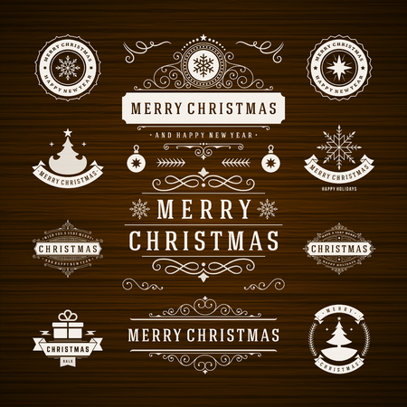 Christmas Decorations Vector Design Elements. Typographic elements, Symbols, Icons, Vintage Labels, Badges, Frames, Ornaments and Ribbons, set. Flourishes calligraphic. Merry Christmas and Happy Holidays wishes. Illustration