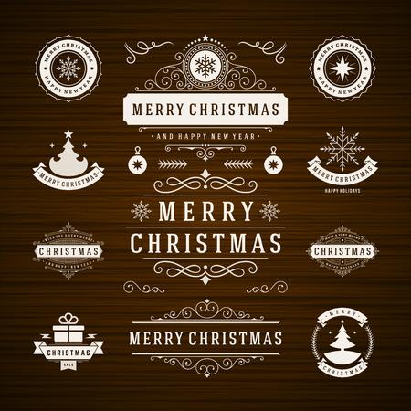dekoration: Weihnachtsschmuck Vector Design-Elemente. Typografische Elemente, Symbole, Icons, Vintage Labels, Badges, Rahmen, Verzierungen und Farbbänder, Set. Gedeiht kalli. Frohe Weihnachten und Happy Holidays möchte. Illustration