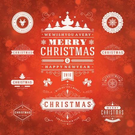 moños navideños: Adornos de Navidad Elementos de diseño vectorial. Elementos tipográficos, símbolos, iconos, etiquetas del vintage, insignias, marcos, adornos y cintas, fijados. Flourishes caligráficos. Feliz Navidad y Felices Fiestas deseos.