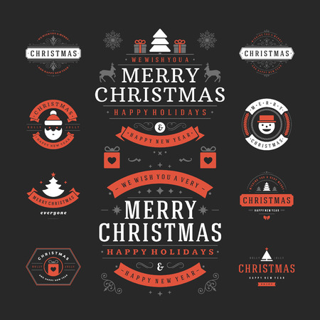 icons set: Christmas Labels and Badges Vector Design. Decorations elements, Symbols, Icons, Frames, Ornaments and Ribbons, set. Typographic Merry Christmas and Happy Holidays wishes.