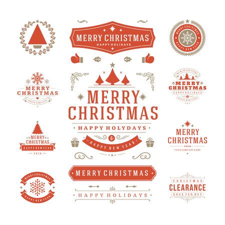 크리스마스 라벨 및 배지 벡터 디자인. 장식 요소, 기호, 아이콘, 프레임, 장식품 및 리본은 설정합니다. 표기 메리 크리스마스, 해피 홀리데이 소원.