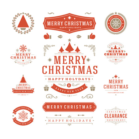 Kerst labels en badges vector ontwerp. Decoraties elementen, symbolen, pictogrammen, kaders, ornamenten en linten, instellen. Typografische Merry Christmas en Happy Holidays wensen.
