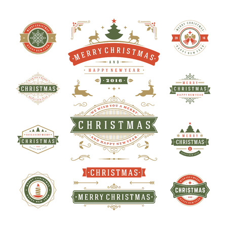 texts: Christmas Labels and Badges Vector Design. Decorations elements, Symbols, Icons, Frames, Ornaments and Ribbons, set. Typographic Merry Christmas and Happy Holidays wishes.