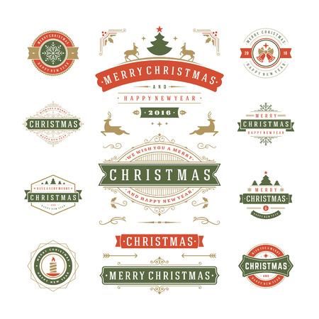 insignia: Etiquetas de Navidad y Distintivos de diseño vectorial. Decoraciones elementos, símbolos, iconos, cuadros, adornos y cintas, establecen. Tipográfico Feliz Navidad y Felices Fiestas deseos. Vectores