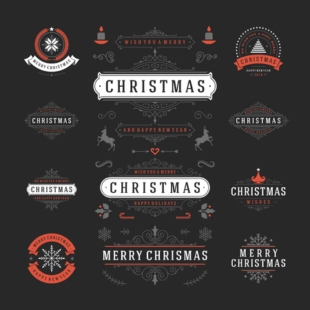 decoration: Christmas Labels and Badges Vector Design. Decorations elements, Symbols, Icons, Frames, Ornaments and Ribbons, set. Typographic Merry Christmas and Happy Holidays wishes.