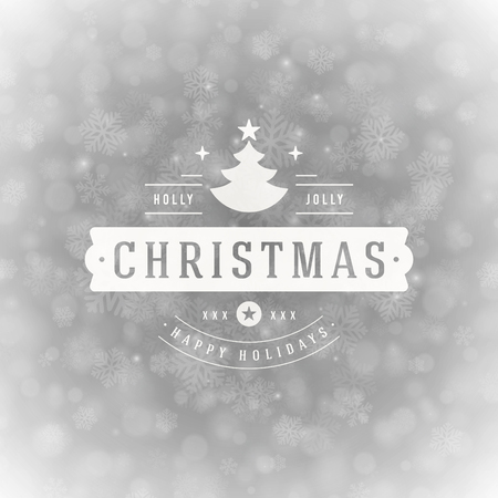 holiday background: Christmas greeting card lights and snowflakes vector background. Merry Christmas holidays wish message typography design and decorations. Vector illustration.