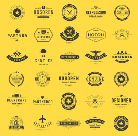 crest: Retro Vintage Logotypes or insignias set. Vector design elements, business signs, logos, identity, labels, badges, shirts, ribbons and other branding objects.