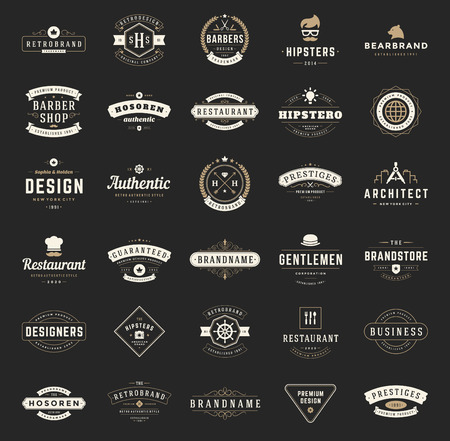 insignias: Retro Logotipos o insignias serie Vintage. Vector de elementos de diseño, letreros comerciales, logotipos, identidad, etiquetas, insignias, camisetas, cintas y otros objetos de marca.