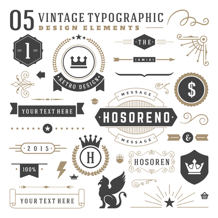 flourishes: Retro vintage typographic design elements. Arrows, labels ribbons, logos symbols, crowns, calligraphy swirls ornaments and other.
