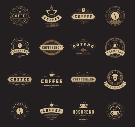 coffee beans: Coffee Shop Logos, Badges and Labels Design Elements set. Cup, beans, cafe vintage style objects retro vector illustration. Illustration