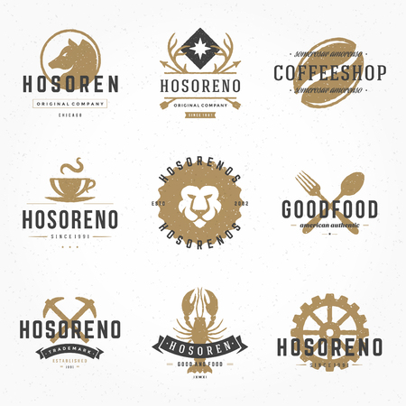 mountain lions: Set hand drawn style retro logos or badges. Vector typographic design elements.