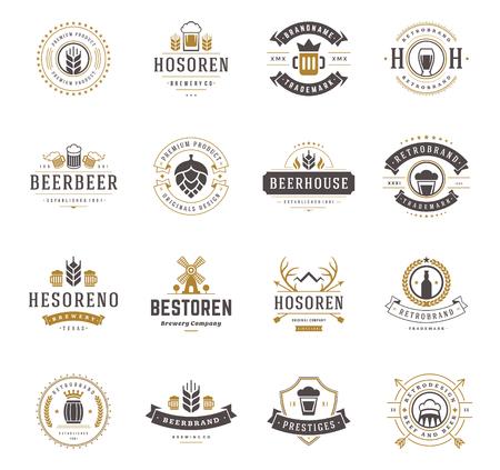 barley malt: Set Beer Logos, Badges and Labels Vintage Style. Design elements retro vector illustration.
