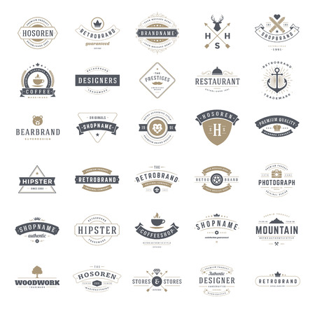 Retro Vintage Logotypes or insignias set. Vector design elements, business signs, logos, identity, labels, badges, ribbons, stickers and other branding objects.