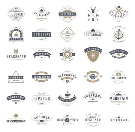 Retro Vintage Logos of insignes ingesteld. Vector design elementen, bedrijfsleven tekenen, logo's, identiteit, etiketten, badges, linten, stickers en andere branding objecten. Stock Illustratie
