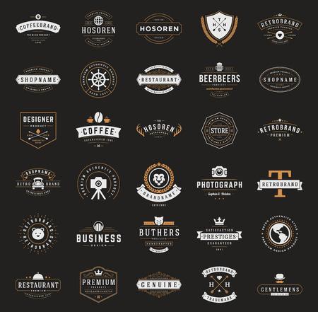 insignias: Retro Logotipos o insignias serie Vintage. Vector de elementos de diseño, letreros comerciales, logotipos, identidad, etiquetas, escudos, cintas, pegatinas y otros objetos de marca. Vectores