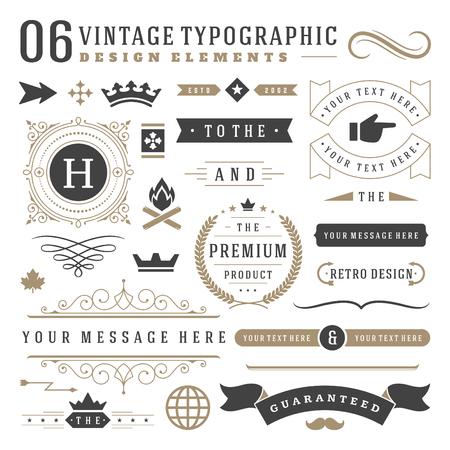 symbol: Retro elementi di design vintage tipografici. Etichette nastri, simboli loghi, corone, turbinii calligrafia, ornamenti e altri. Vettoriali