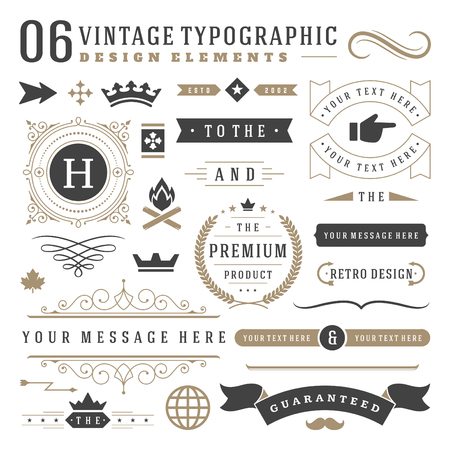Retro vintage typographic design elements. Labels ribbons, logos symbols, crowns, calligraphy swirls, ornaments and other. Ilustração