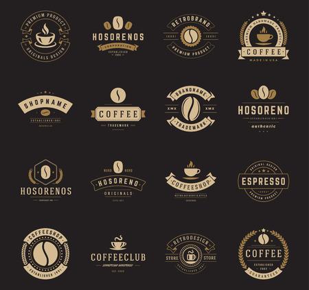 chicchi di caffè: Coffee Shop Loghi, Badge e impostare le etichette elementi di design. Coppa, fagioli, caff� stile vintage oggetti retr� illustrazione vettoriale.