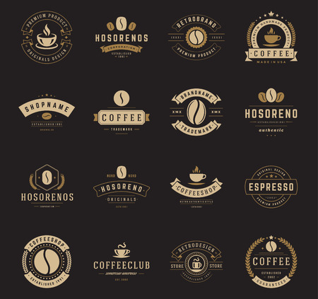 Coffee Shop Logos, Badges and Labels Design Elements set. Cup, beans, cafe vintage style objects retro vector illustration. Ilustração