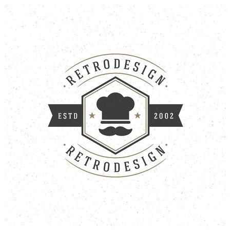 Restaurant-Design-Element in Vintage Style für Logotype, Etiketten, Abzeichen und andere Design. Chef-Hut Retro-Vektor-Illustration. Standard-Bild - 46168376