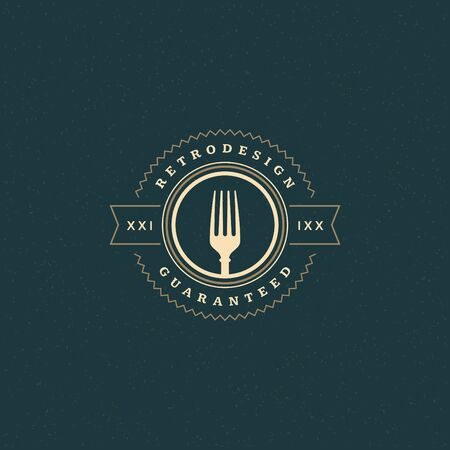 restaurant  menu: Restaurant Shop Design Element in Vintage Style for Logotype, Label, Badge and other design. Fork retro vector illustration.